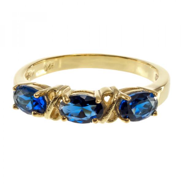 Δαχτυλίδι με Τρία Μπλε Ζαφείρια σε Επιχρυσωμένο Ασήμι