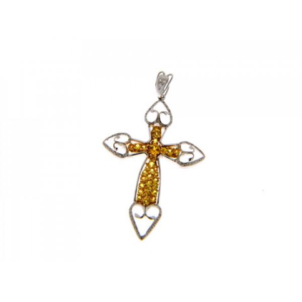 Σταυρός με Yellow Ζαφείρια και Μπριγιάν δεμένα σε Λευκό Χρυσό Κ18