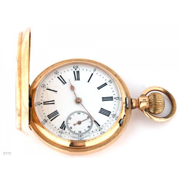 K14 Ρολόι τσέπης χρυσό Geneve με 3 καπάκια και 15 Jewels