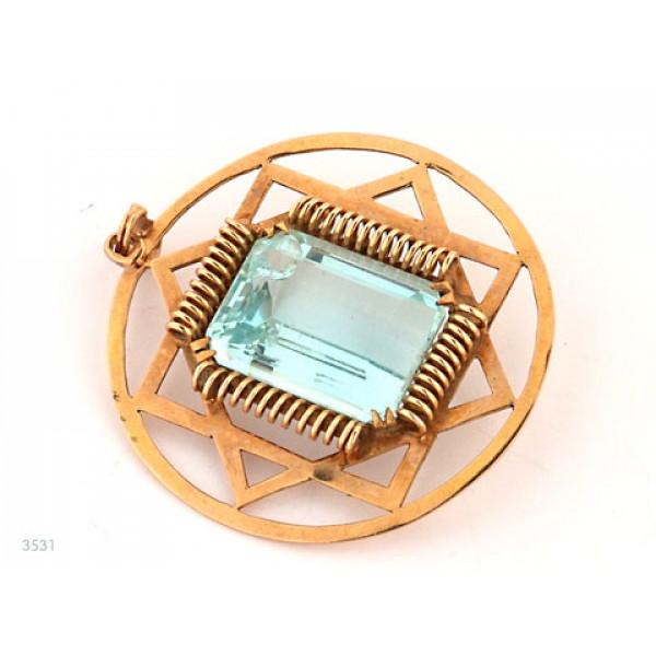 Χρυσό Μενταγιόν με Aquamarine