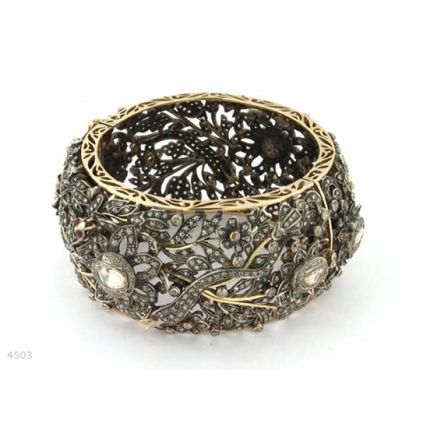 Βραχιόλι με Διαμάντια και Ρουμπίνια δεμένα σε Χρυσό Κ18 και Ασήμι