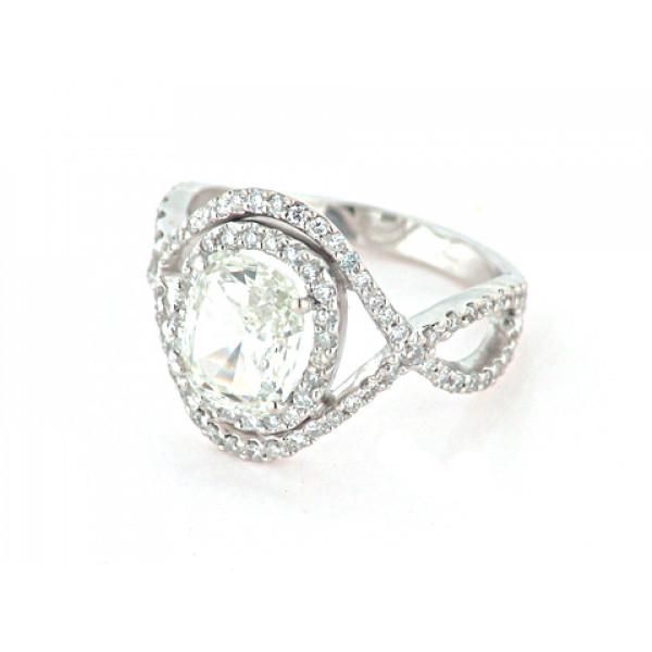 Μονόπετρο Δαχτυλίδι Διαμάντι δεμένο σε Λευκό Χρυσό