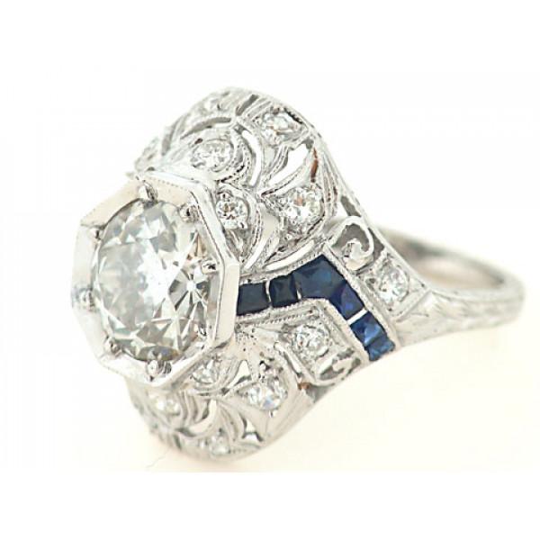 Δαχτυλίδι από Πλατίνα με Διαμάντια και Ζαφείρια Τεχνοτροπίας Art Deco