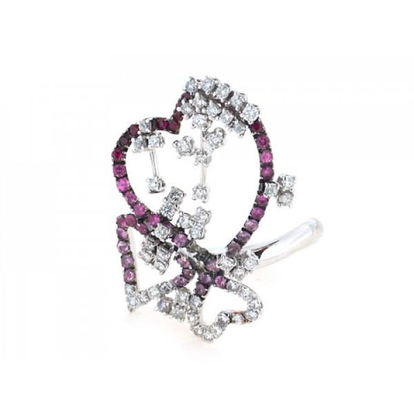 Δαχτυλίδι Καρδιές Roberta Porrati σε Λευκό Χρυσό με Διαμάντια, Ζαφείρια και Ρουμπίνια
