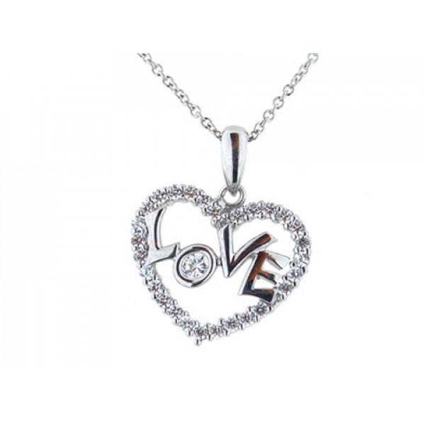 Μοτίφ από επιπλατινωμένο ασήμι με σχέδιο Καρδιά, διακοσμημένη με λευκά ζαφείρια, που περιέχει τη λέξη LOVE.
