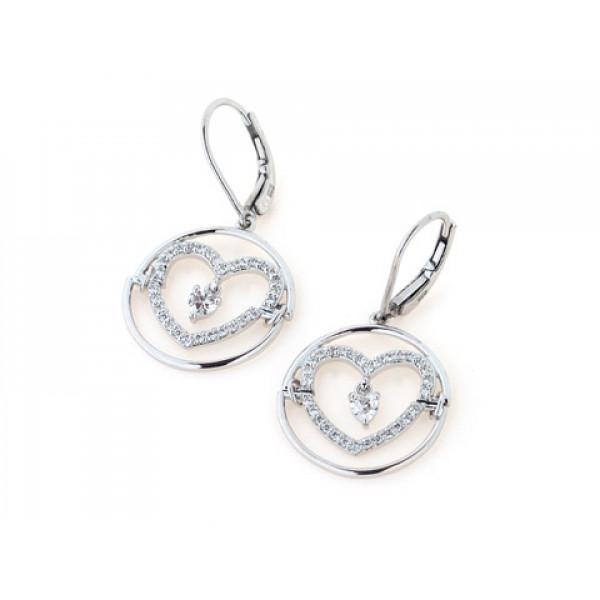 Σκουλαρίκια Καρδούλες με Λευκά Ζαφείρια σε Επιπλατινωμένο Ασήμι