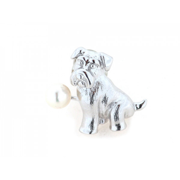 Καρφίτσα από επιπλατινωμένο ασήμι με σχέδιο Σκυλάκι