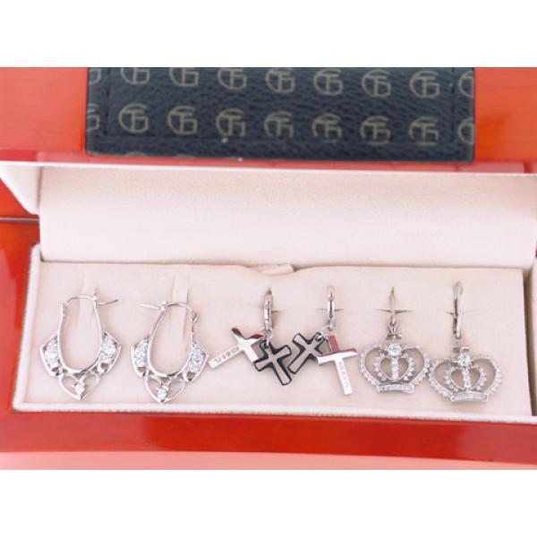 Set με 3 Ζευγάρια Σκουλαρίκια από Επιπλατινωμένο Ασήμι με Λευκά Ζαφείρια