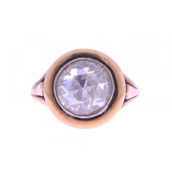 Χρυσό Δαχτυλίδι με Διαμάντι Κορωνέ Αντίκα του 19ου Αιώνα