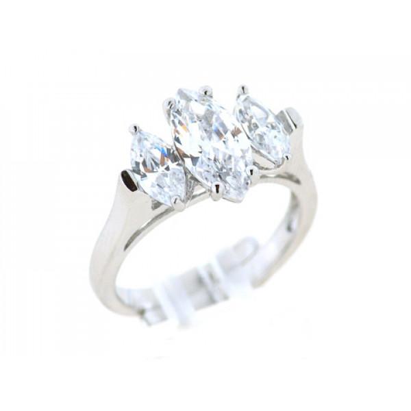 Δαχτυλίδι από Επιπλατινωμένο Ασήμι με Τρία Λευκά Ζαφείρια