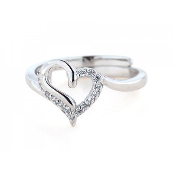 Δαχτυλίδι Καρδιά από Επιπλατινωμένο Ασήμι