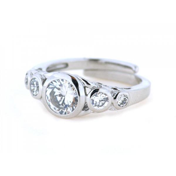 Δαχτυλίδι από Επιπλατινωμένο Ασήμι με Λευκά Ζαφείρια