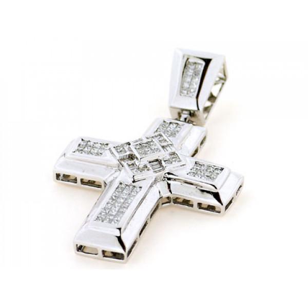 Σταυρός με Μπριγιάν σε Λευκό Χρυσό