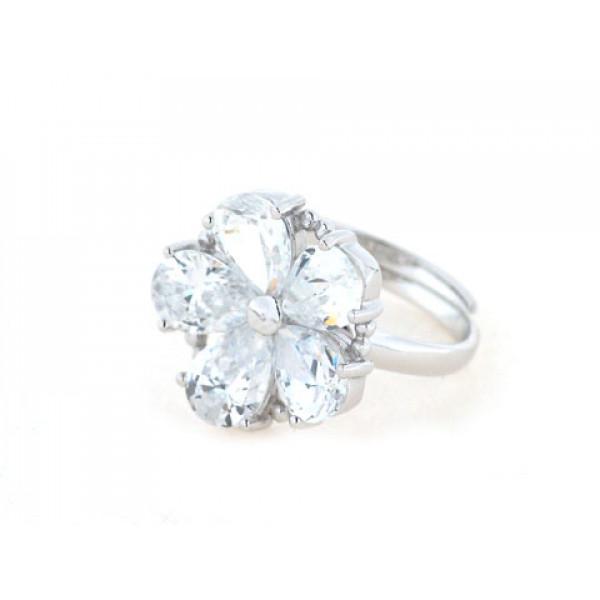 Δαχτυλίδι Μαργαρίτα από Επιπλατινωμένο Ασήμι με Λευκά Ζαφείρια