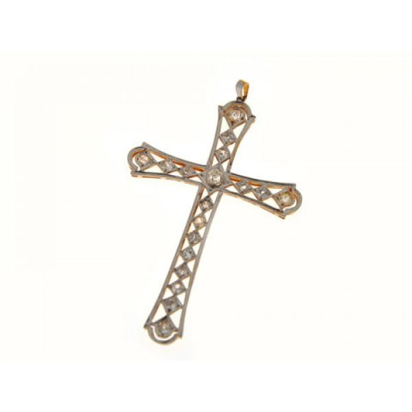 Σταυρός με Μπριγιάν σε Πλατίνα και Χρυσό