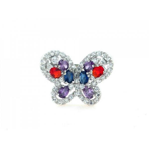 Δαχτυλίδι Πεταλούδα από Επιπλατινωμένο Ασήμι με Ρουμπίνια, Αμέθυστους και Ζαφείρια