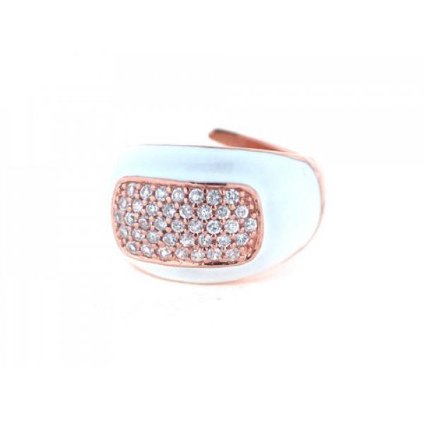 Ροζ Επιχρυσωμένο Δαχτυλίδι με Αχάτη και Λευκά Ζαφείρια