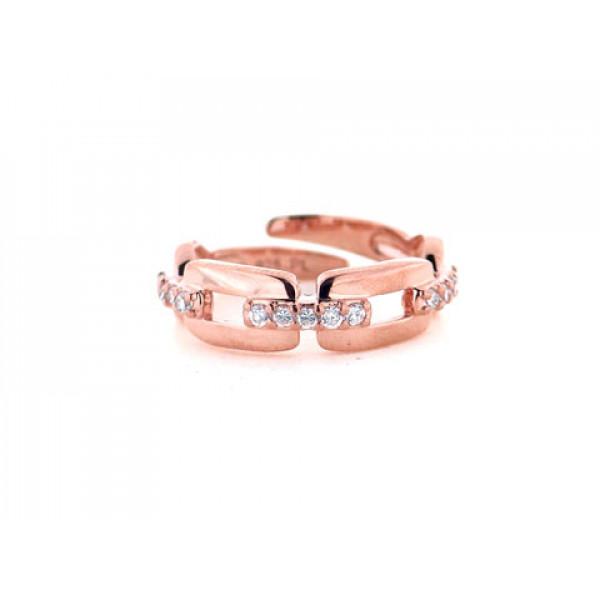 Ροζ Επιχρυσωμένο Δαχτυλίδι Linkchain