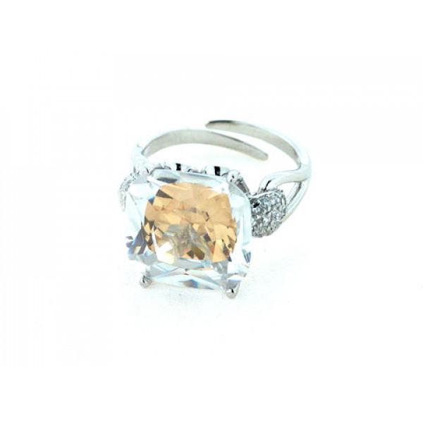 Δαχτυλίδι από Επιπλατινωμένο Ασήμι με Μελί Τοπάζι και Λευκά Ζαφείρια