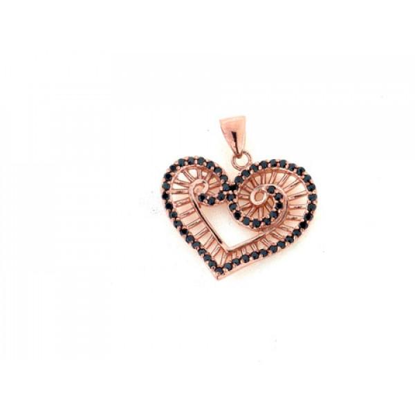 Ροζ Επιχρυσωμένο Μοτίφ Καρδιά