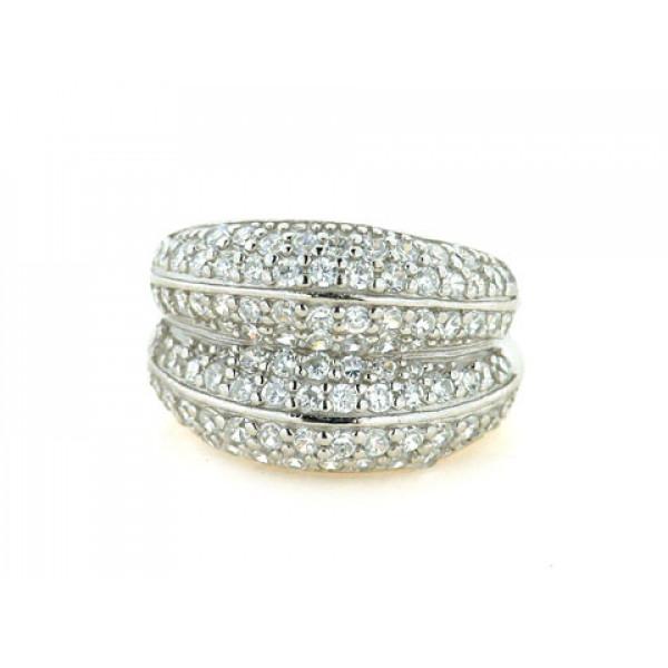 Δαχτυλίδι με Λευκά Ζαφείρια σε Επιπλατινωμένο Ασήμι