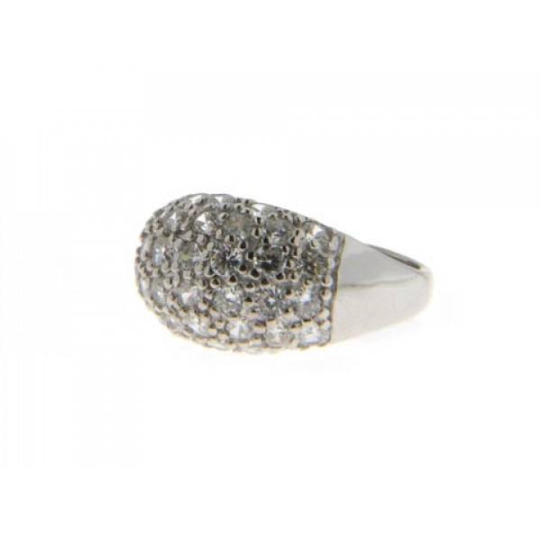 Μπομπέ Δαχτυλίδι από Επιπλατινωμένο Ασήμι με Λευκά Ζαφείρια