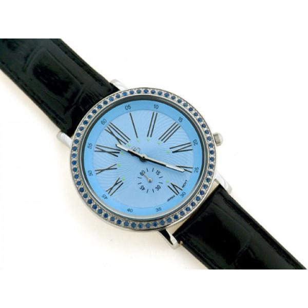 Ρολόι με Μπλε Ζαφείρια στη Στεφάνη και Μαύρο Δερμάτινο Κροκό Λουράκι