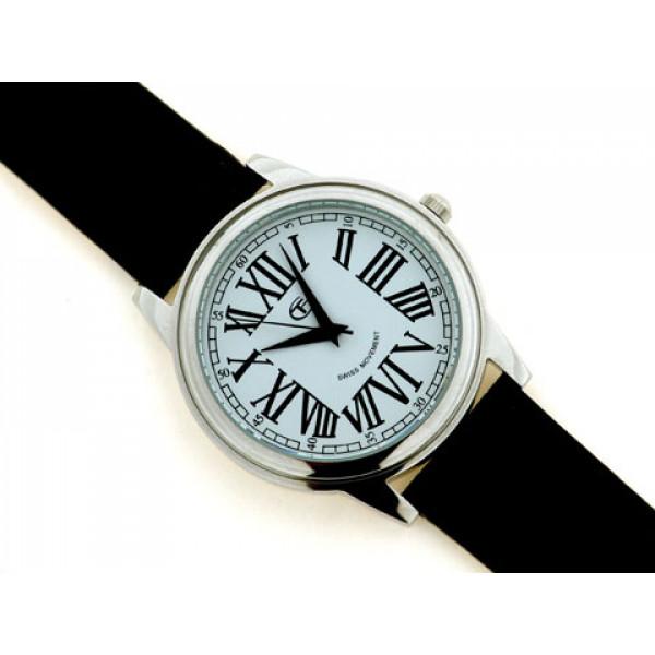 Δερμάτινο Κροκό Ρολόι σε Μαύρο Χρώμα