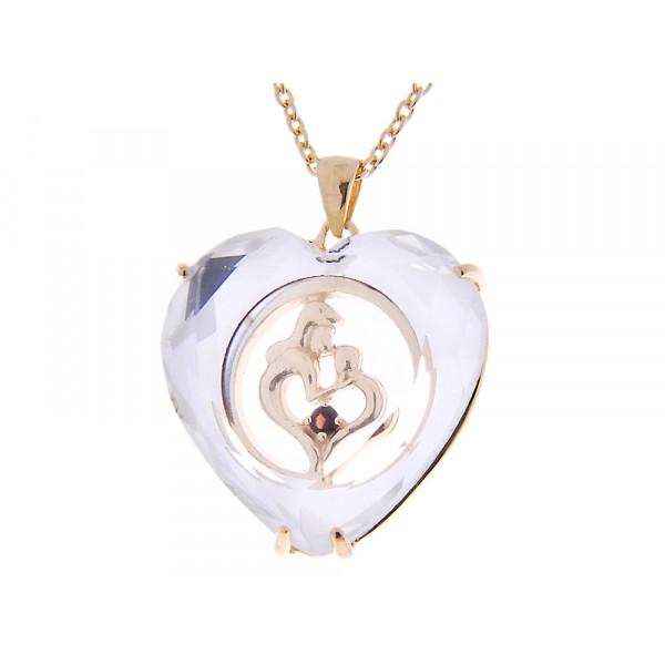 Μοτίφ Καρδιά από Επιχρυσωμένο Ασήμι διακοσμημένο με Τοπάζ