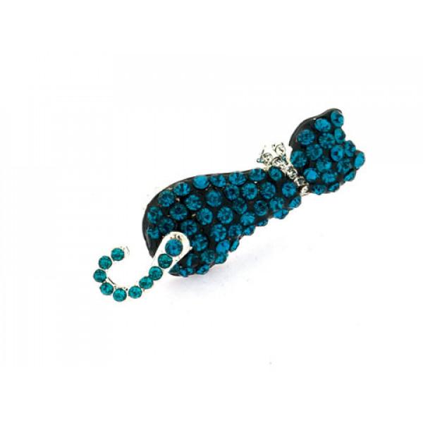Καρφίτσα Γάτα με Μπλε Swarovski