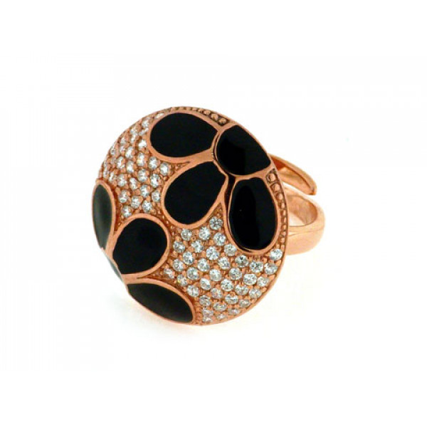 Δαχτυλίδι από Ροζ Επιχρυσωμένο Ασήμι με Λευκά Ζαφείρια και Μαύρο Σμάλτο