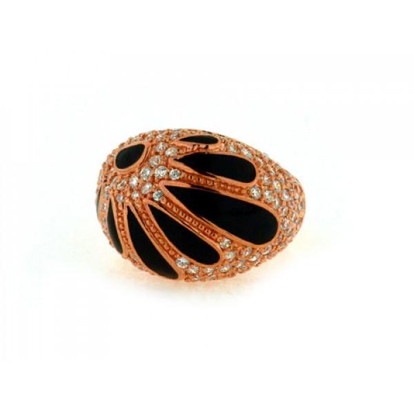 Μπομπέ Δαχτυλίδι από Ροζ Επιχρυσωμένο Ασήμι με Μαύρο Σμάλτο και Λευκά Ζαφείρια