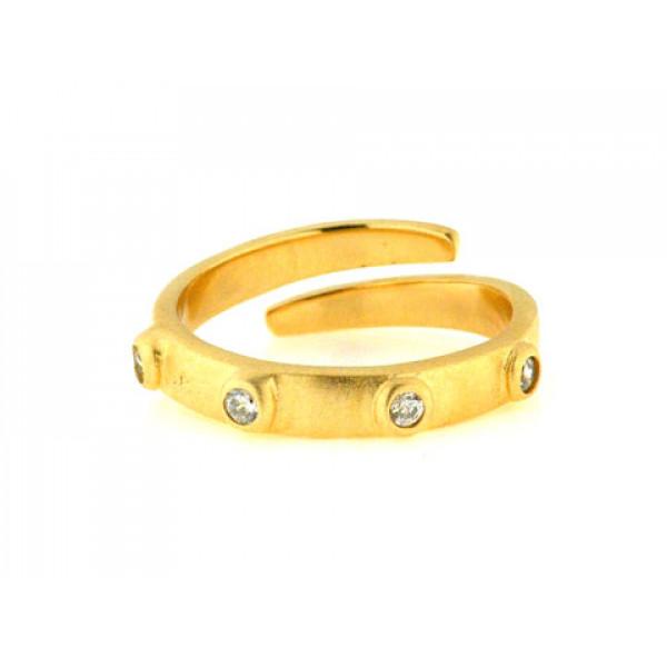 Δαχτυλίδι από Επιχρυσωμένο Ασήμι με Λευκά Ζαφείρια