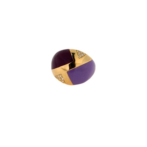 Ασημένιο Μπομπέ Δαχτυλίδι με Επιμετάλλωση Χρυσού, Μωβ και Γκρενά Σμάλτα και Λευκά Ζαφείρια