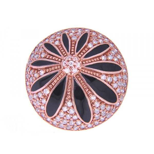 Ροζ Επιχρυσωμένο Δαχτυλίδι με Μαύρα Σμάλτα και Λευκά Ζαφείρια