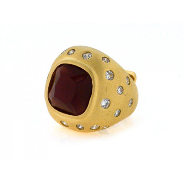 Μπομπέ Δαχτυλίδι από Επιχρυσωμένο Ασήμι με Αμέθυστο και Λευκά Ζαφείρια