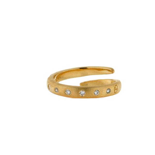 Επίχρυσο Δαχτυλίδι από Ασήμι με Λευκά Ζαφείρια