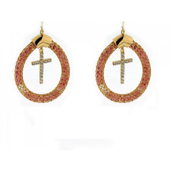 Σκουλαρίκια Κρίκοι με Σταυρούς από Επιχρυσωμένο Ασήμι με Λευκά Ζαφείρια και Pink Quartz