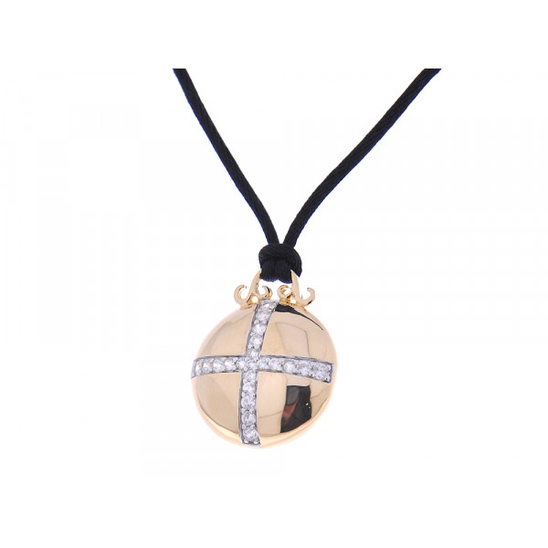 Μοτίφ από Επιχρυσωμένο Ασήμι με Λευκά Ζαφείρια δεμένο σε Μαύρο Κορδόνι