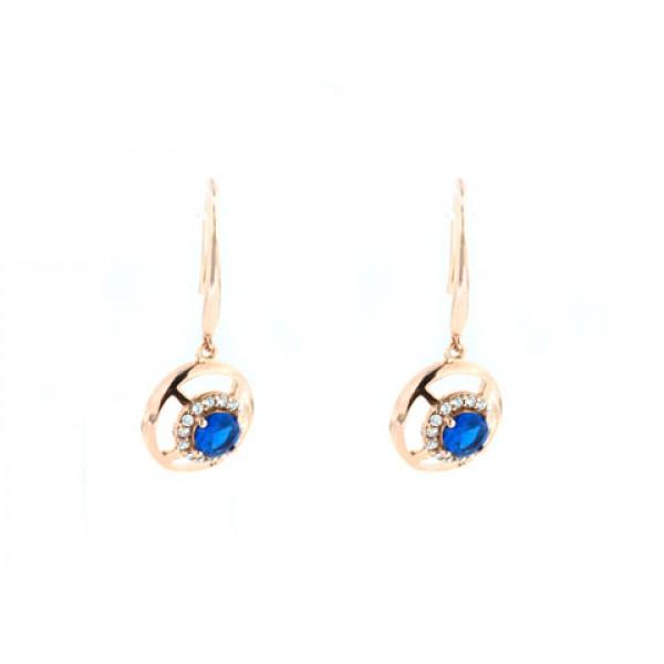 Σκουλαρίκια από Ροζ Επιχρυσωμένο Ασήμι με Μπλε Σπινέλιο