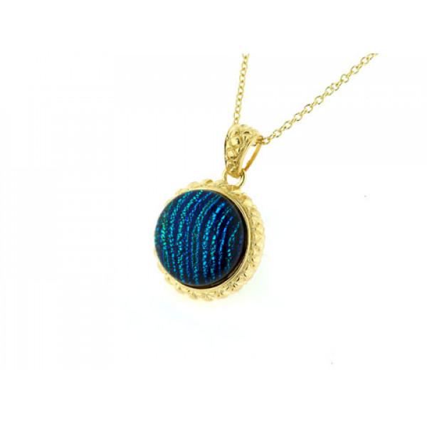 Μοτίφ από Επιχρυσωμένο Ασήμι με Μπλε Murano