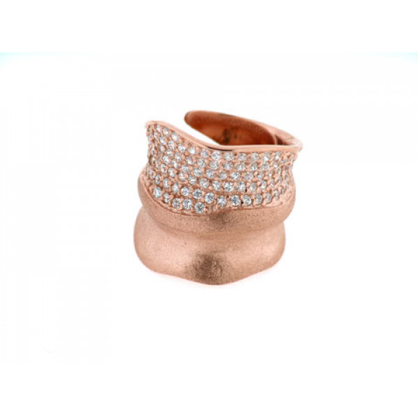 Ροζ Επιχρυσωμένο Δαχτυλίδι με Λευκά Ζαφείρια