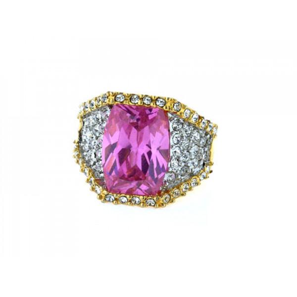 Επίχρυσο Δαχτυλίδι Sabrina Carrera με ένα κεντρικό Ροζ Swarovski και Λευκά Swarovski Κρύσταλλα