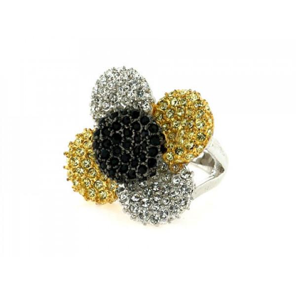 Statement Δαχτυλίδι Φλοράλ με Λευκά, Κίτρινα και Μαύρα Swarovski