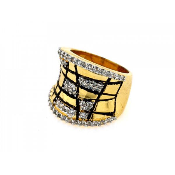 Επίχρυσο Δαχτυλίδι Sabrina Carrera με Μαύρο Σμάλτο και Λευκά Ζαφείρια