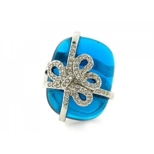 Statement Δαχτυλίδι με ένα κεντρικό μπλε swarovski και λευκά κρύσταλλα swarovski