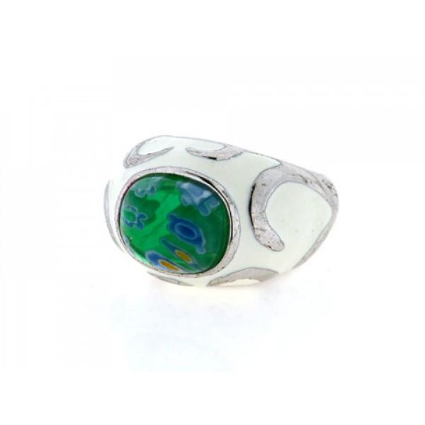 Μπομπέ Δαχτυλίδι με Πράσινο Μουράνιο και Λευκό Σμάλτο