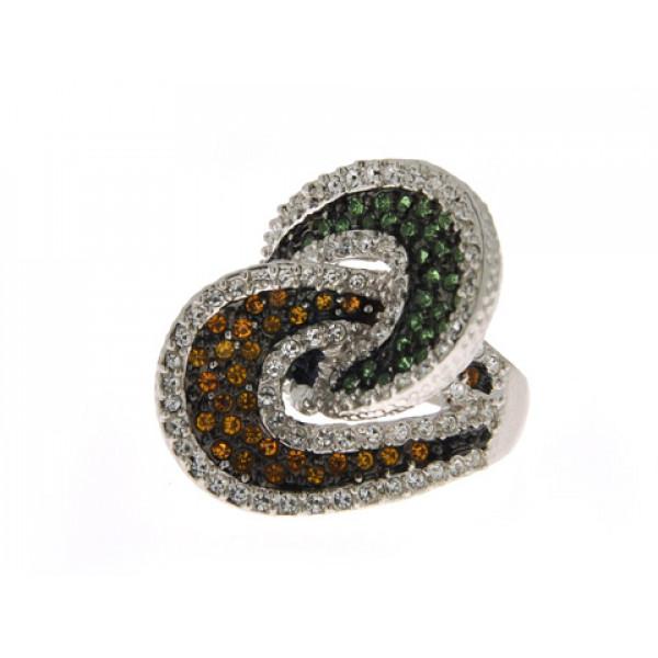 Δαχτυλίδι Sabrina Carrera από alloy διακοσμημένο με λευκά, φιμέ και πράσινα Swarovski