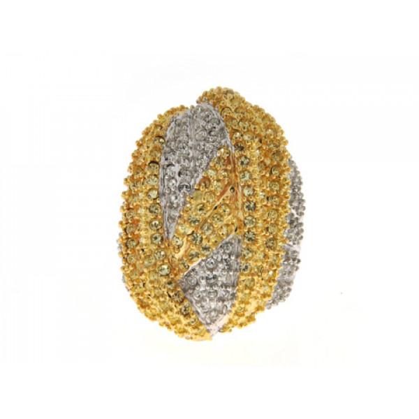 Δίχρωμο Δαχτυλίδι Sabrina Carrera με Λευκά και Κίτρινα Swarovski