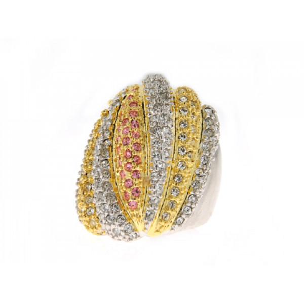 Δίχρωμο Δαχτυλίδι Sabrina Carrera με Λευκά, Κίτρινα και Ροζ Swarovski